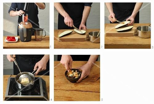 Aubergines in mushroom broth being made