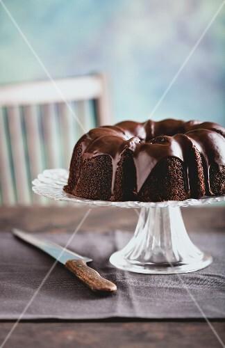 A dark chocolate cake