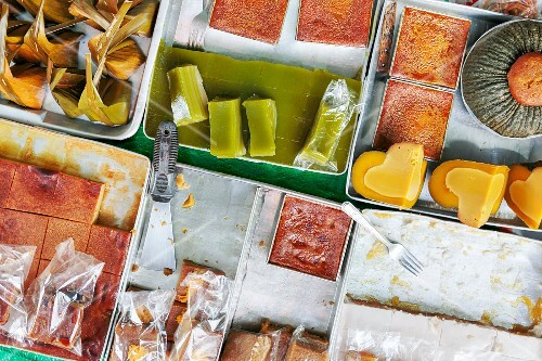 Thai desserts and sweet at a market in Koh Phangan, Thailand