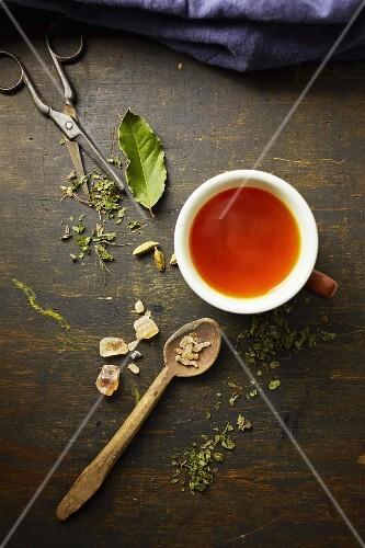 Herb tea with rock sugar and ingredients