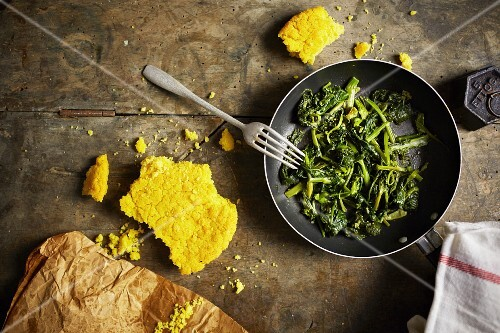 Steamed kohlrabi leaves with cornbread
