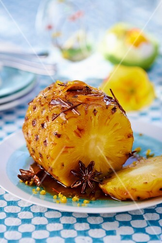 Grilled pineapple with star anise for Easter