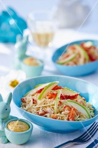 Celeriac salad with crab and green apple for Easter