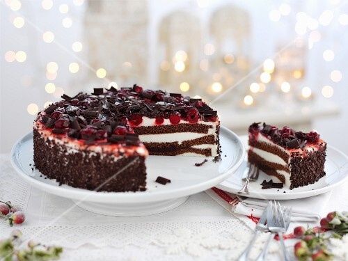 Black Forest Gateau, sliced for Christmas