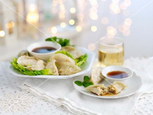 Gyoza (stuffed Japanese dumplings) for Christmas