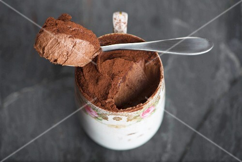 A cup of mousse au chocolat