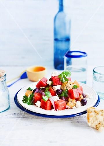 Bread and watermelon salad