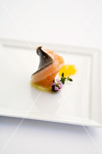 Smoked brook trout fillet with lemongrass and ginger