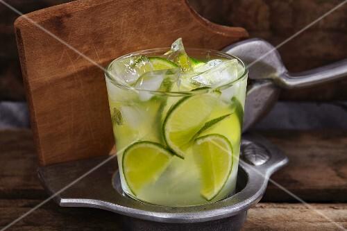 Caipirinha (cocktail made with Cachaca, lime and ice)