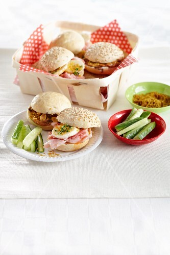 Indian sandwiches with ham, eggs and cucumber