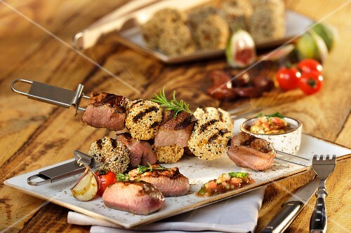 Lamb and falafel skewers with fig and date chutney