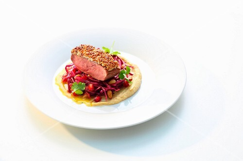 Duck breast with a sesame seed crust on a red cabbage salad, chickpea purée and orange sauce