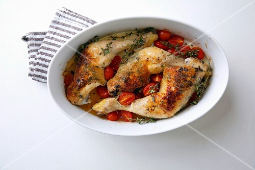 Oven-roasted chicken with cherry tomatoes and lemon thyme