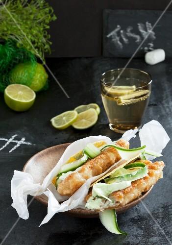 Crispy fish with wild garlic sour cream