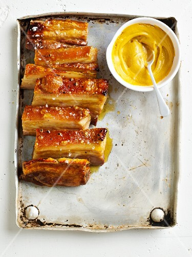 Pork belly with a maple syrup and ginger glaze and English mustard