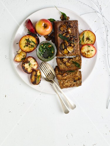 Spiced pecan nut and mushroom bread with fried sage apples and basil pesto for Christmas