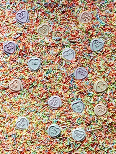 Love hearts and colourful sugar sprinkles