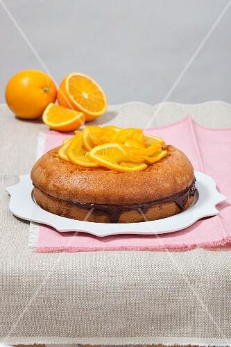 Torta all'arancia e cioccolato (orange cake with chocolate cream, Italy)