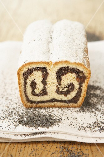 Poppyseed stollen with icing sugar