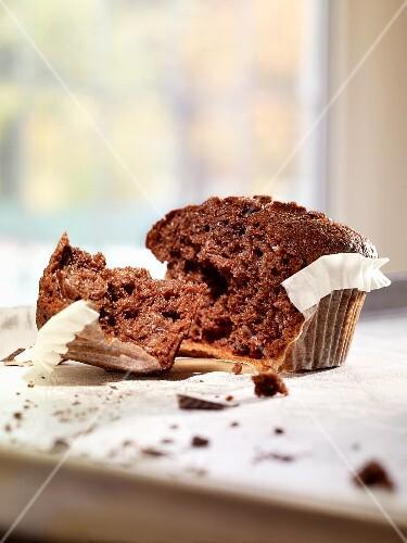 A broken chocolate muffin