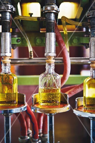 Liqueur being bottled at a distillery