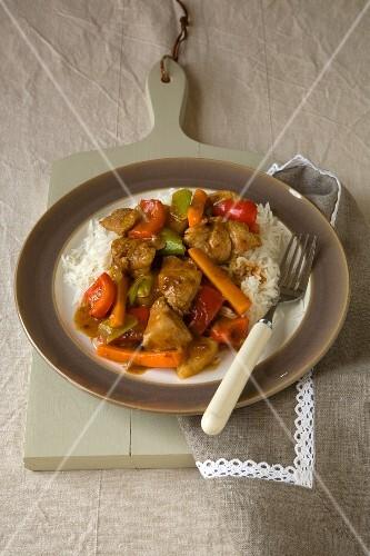 Schweinefleisch süß-sauer mit Reis