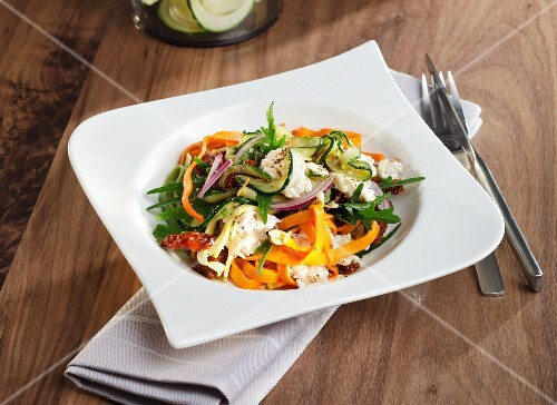 Tagliatelle with almond cream and vegetable spirals