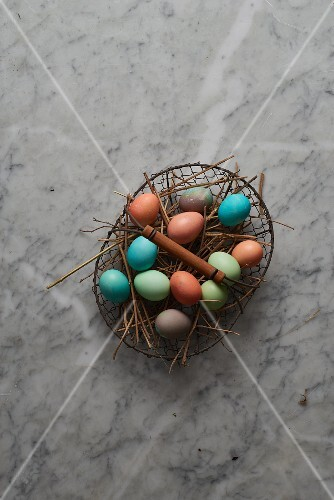 Easter eggs in a wire basket