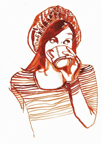 An illustration of a woman drinking a mug of cocoa