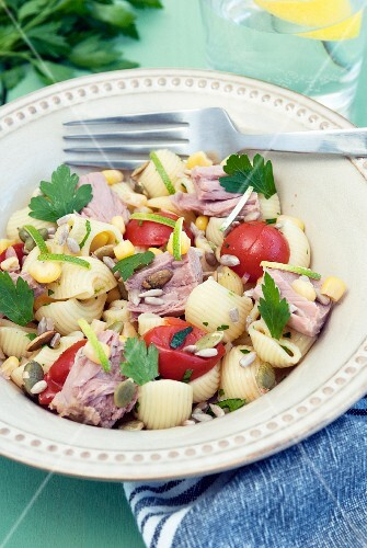 Summer pasta salad with tuna fish
