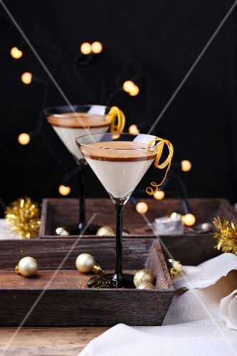 Layered coffee and coconut panna cotta with orange zest for Christmas