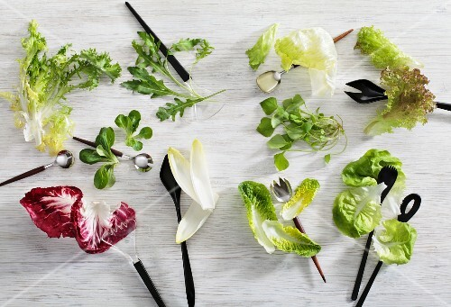 Various lettuce leaves with salad servers