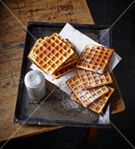 Waffles with icing sugar