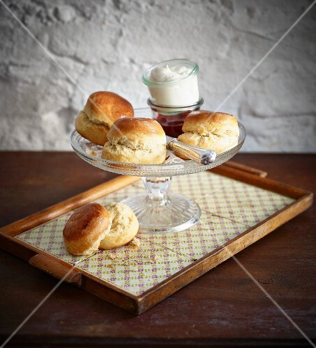 Scones with clotted cream and jam (UK)