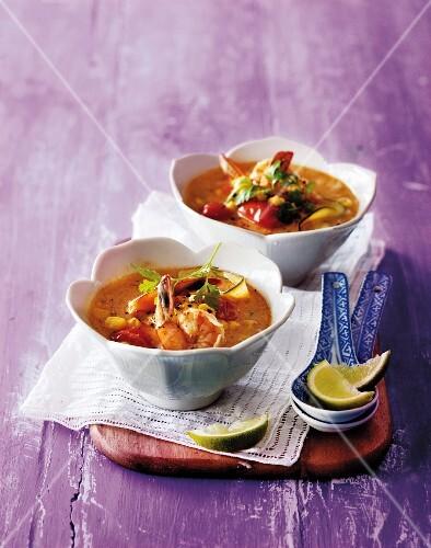 Sweetcorn soup with prawns