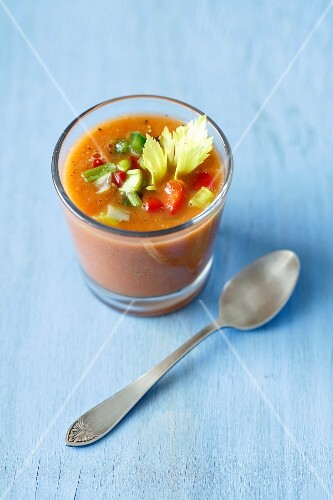 A small glass of gazpacho