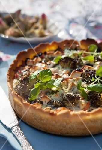 Broccoli and feta quiche with oregano and basil
