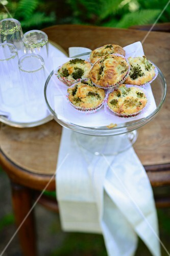 Broccoli muffins on a table outside