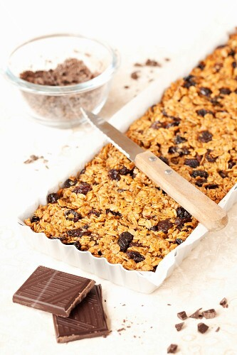 Freshly baked flapjacks with chocolate and brown sugar