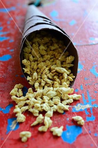 A paper bag of soya snacks