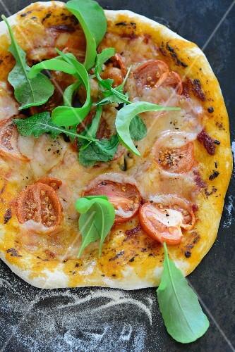 A tomato, mozzarella and rocket pizza