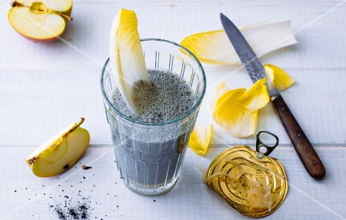A black smoothie made from sauerkraut, apples and charcoal powder