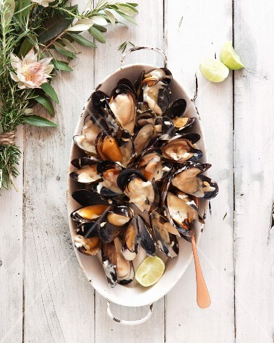 Mussels poached in beer and wine