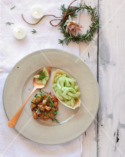 Trout tartare with chilled cucumber