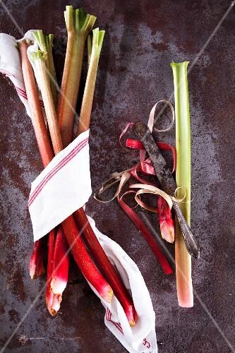 Rhubarb: a bundle of multiple sticks, one peeled
