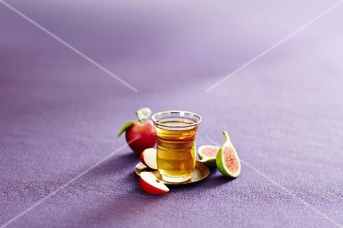 A glass of Turkish apple tea