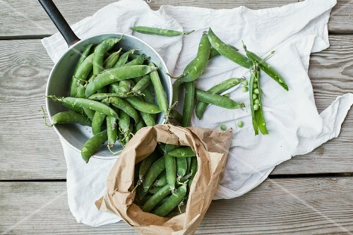 Pea pods in a sack and in a saucepan on a cloth