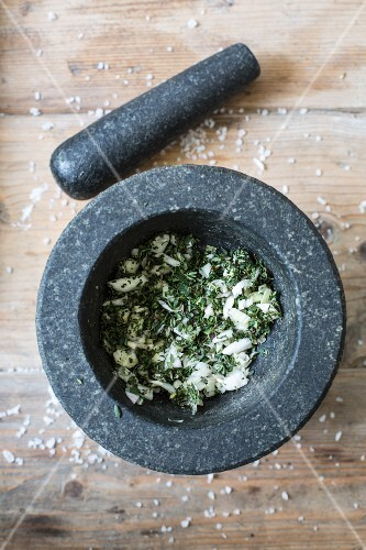 Herbs and salt in a mortar