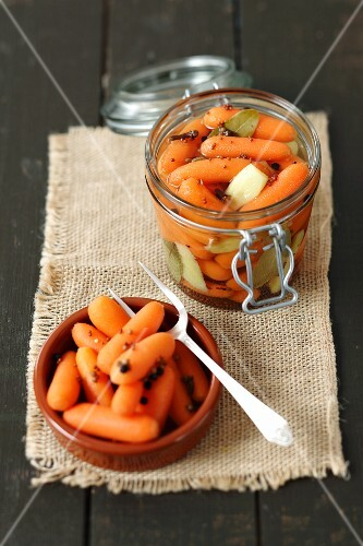 A jar of sour preserved carrots