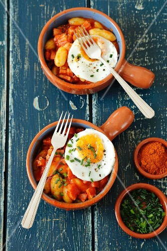 Gnocchi with amatriciana sauce and fried eggs